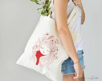 "TOTE BAG  ""POPPY"" Cotton eco bag,  screeprinting tote bag, girl bag"