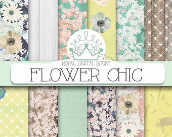 "Floral digital paper: ""FLOWER CHIC"" with  flowers digital paper, flower scrapbook paper, floral background in mint, green for planners, card"