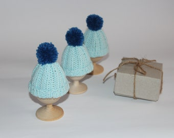 Easter eggs knit blue hats, knitted decor hats, easter gifts eggs, Knit egg warmers, Knit Easter Eggs, colored easter eggs, crochet egg cozy