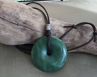 Natural Canadian Nephrite Jade Pendant, Brown Leather Cord Necklace . Choker Necklace, Canada Jade Donut Pendant Necklace Mother's Day Gift.