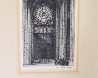 Fabulous limited edition Etching of the Rose Window, Notre Dame, Paris. Signed E Sharland (1884 - 1967)
