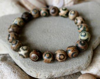 Tibetian Agate Bracelet, Tibetian Eye Bracelet, Eye Bracelet, Brown Tibetian Agate Bracelet, Tibetian Agate Jewelry, Brown Bead Bracelet