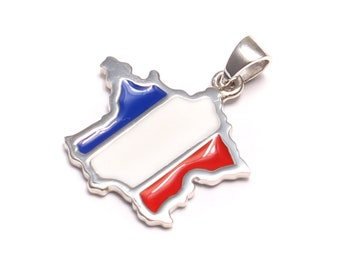 Football World Cup pendant from 925 sterling silver: France