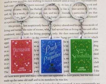 Jane Austen Book Charm Keychain Jane Austen Pride & Prejudice Gift