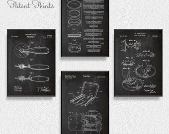 Pizza Patents Set of 4 Prints, Kitchen Wall Decor, Kitchen Wall Art, Restaurant Decor, Dining Room Wall Decor, Pizza Party Decorations