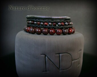 Jewelry men - Multi-bracelets man, a trio of bracelets in leather and natural stones Ref: BN-504