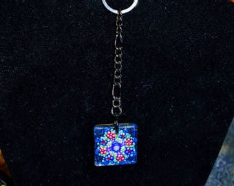 Small Square hand painted glass keychain with wooden back Black