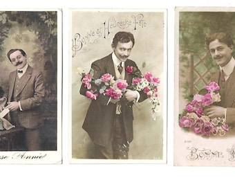 3 PARIS hand painted Post card set - Romantic MEN with FLOWERS - Congratulation Card - Handwrittenpostcard from France