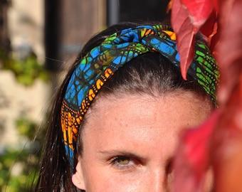 Headband P' little trickster WAX Kinshasa green, blue, yellow, doves