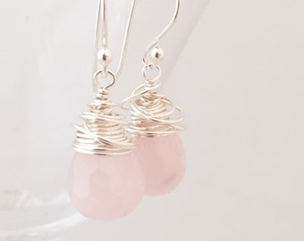 Rose Quartz Earrings - Wire Wrapped Earrings - Quartz Silver Earrings - Pink Gemstone Earrings - Pink Silver Earrings