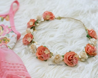Peach Tangerine Coral Cream Floral Crown - Floral Halo Floral Boho Headband Festival Crown Newborn Photo Prop Shabby Chic