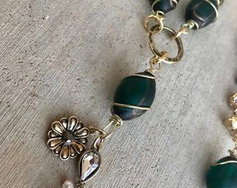 Long, Gold and Green, Tassel Necklace