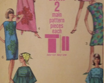 UNCUT and FF Pattern Pieces Vintage Simplicity 6351 Sewing Pattern Size 16 Bust 36 Jiffy Muu Muu in Two Lengths and Shift Dress