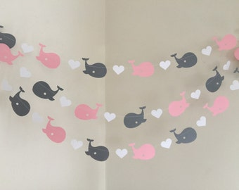 Pink Whale Nursery / Whale baby shower Decorations / Pink & Gray Whale Nursery Decor / Nautical Girl Baby Shower Garland / Custom colors