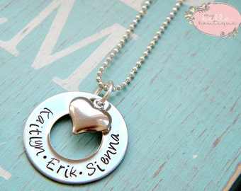 1 inch Personalized Hand Stamped Washer Necklace With Silver Tone Heart Charm