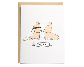 Corgi Wedding Card, Wedding Card, Dog Wedding Card, Wedding, Engagement, Congrats, I do