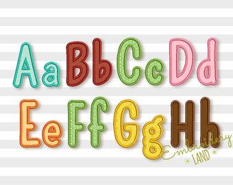BX format included! Narrow Applique Alphabet Font Machine Embroidery Design 6 sizes AL040