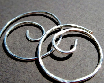 Small Hoop Earring. THINNI . Swirl. Hammered Surface . 20 gauge Silver Plated wire
