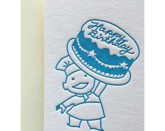 Letterpress Mini Card, Gift Tag, Gift Enclosure, Birthday, Mid Century, Vintage, Retro Inspired, 60s, 50s, Blue, Pale Yellow, MIB01