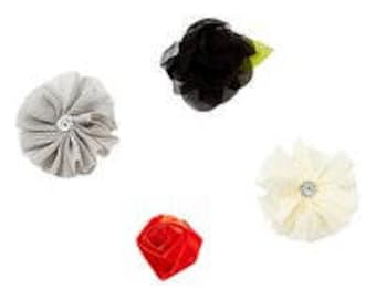Black, Ivory, Gray, and Red Flower Hair Clip Set