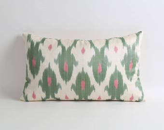 Green ikat pillow cover, 12x20 Green, White and pink silk pillow, Handwoven green and white decorative pillow