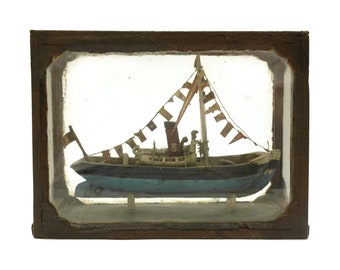 French Antique Ship Model in Glass Case. Nautical and Coastal Decor. Miniature Boat Art. Gifts For Him.