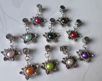 x 10 mixed multicolor Pearl/Lotus Flower dangle silver 29 x 19 mm