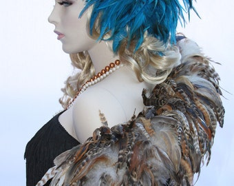Fierce Rooster Feather Hairclip - Turquoise