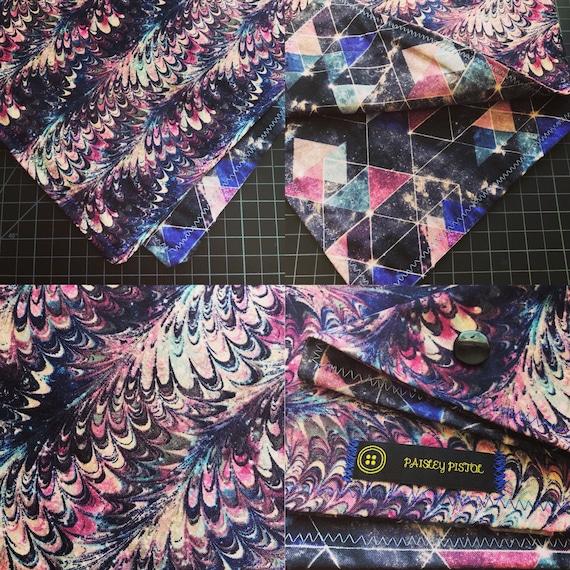 READY TO SHIP-Geometric Galaxy-Psychedelic Oil Slick-Handmade Bandana-Snapback Unisex Bandana Scarf