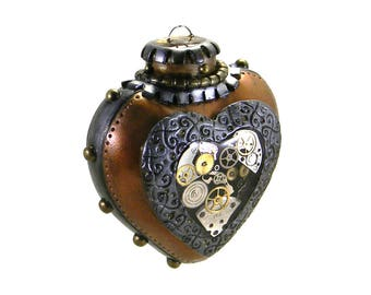 Steampunk Ornament - Clockwork Heart with Key / Industrial Heart Ornament