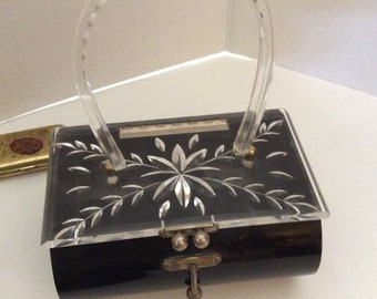 1950's Lucite box purse, vintage lucite box purse, Charles S. Kahn  lucite box purse
