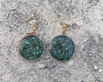 Round Gold &  Bluish Green Shell Resin Earrings
