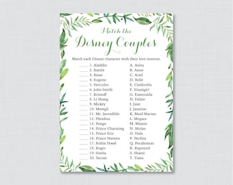 Green Disney Couples Match Game - Printable Green Botanical Wreath Bridal Shower Famous Couples Match Game - Green Wedding Shower Game 0021