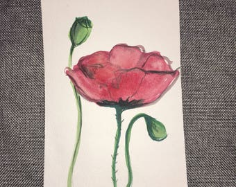 Rose Blossoms, Mother's Day card, thinking of you card, watercolor painting, anniversary card, thank you card, blank greeting card, handmade