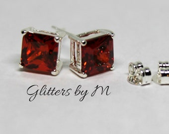 Ruby Red July Birthstone Color Rectangle Stud Earrings