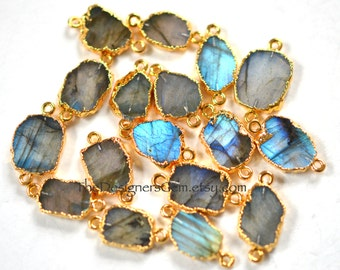 BLUE FLASH Labradorite Slice Connector Edged in 24kt Gold, 23 x 13mm, Gold Electroplate Labradorite