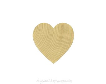 "50 Solid Wood Hearts, 1"" Wide, 1/8 Inch Thick,  Natural Wood Heart"