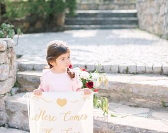 Custom Ring Bearer Sign, Here Comes The Bride, Rustic Wedding Sign, Flower Girl Sign, Wedding Decor, Ring Bearer, Here Comes Sign