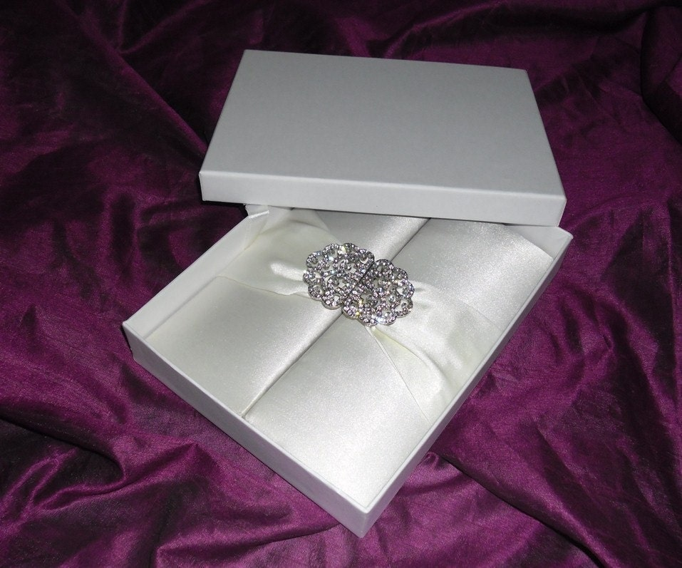 Beautiful elegant romantic Ivory Satin Wedding Invitation