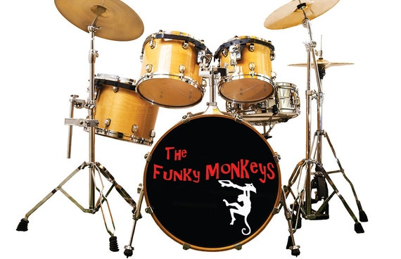 Custom bass drum decal bass drum sticker custom band name decal custom sticker custom decals drum decal band logo band logo sticker