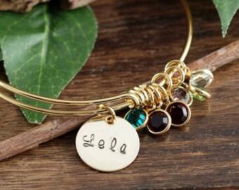 Grandmother Bracelet, Personalized Birthstone Bracelet, Gold Charm Bracelet, Gold Family Bangle Bracelet, Mom Bracelet, Gift for Grandma