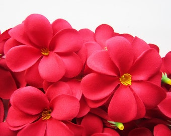 24 Red Plumeria Frangipani Heads - Artificial Silk Flower - 3 inches - Wholesale Lot - for Wedding Work, Make Hair clips, headbands, hats