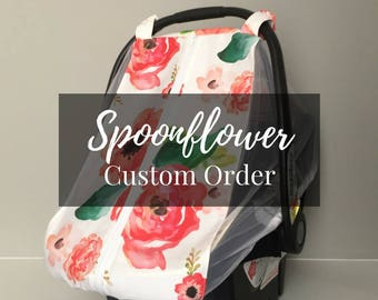 Summer Car Seat Canopy - Spoonflower Fabric Custom Car Seat Cover - Fitted Carseat Cover - Mosquito Net Canopy - Baby Bucket Seat Canopy