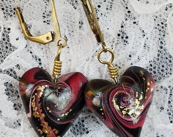 Black and Red Swirl Heart Dangle Earrings