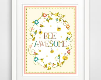 Children's Wall Art / Nursery Decor Bee Awesome print by Finny and Zook