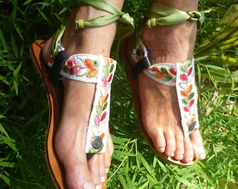 Boho Leather Woman Sandal Sole Pakashoes  With Fancy Embroidery Switchable Free Shipping