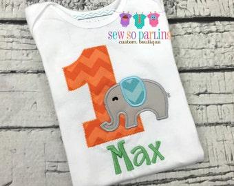 1st Birthday Elephant Birthday Shirt - Baby Boy 1st Birthday Outfit - Elephant Birthday Outfit - First Birthday Shirt