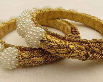 White Pearl Gold Plated leaves Indian Bracelet, Charm Bracelet,Gold Bracelet,Wedding jewelry, Pearl Bracelet, Christmas Gift, Valentine gift