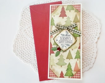 """Handmade Christmas money / gift card holder with Christmas plaid and """"Merry Christmas"""" title and paper bow"""