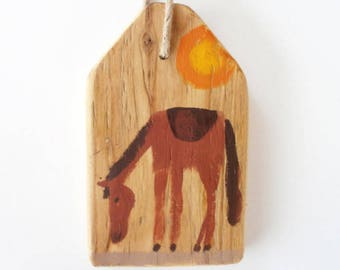 Horse - Rustic one of a kind hand painted home decoration wall hanging wood